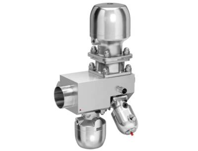 Multi-port valve block made from stainless steel with the control valve Gemü 567 Biostar control