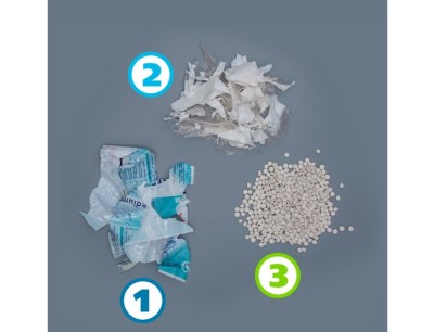 1) heavily printed film before the deinking process, 2) Film after the deinking process, 3) Regranulate after the extrusion process