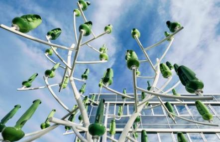 At Endress+Hauser in Gerlingen, Germany, a 'wind tree' with tiny turbines generates green energy